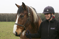 Paddy the horse with NTU equestrian centre technician, Charlotte Whyld
