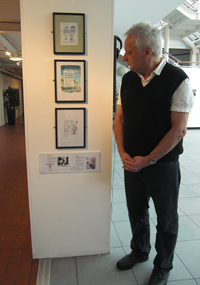 Pete Dredge with his work