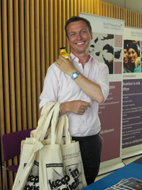 Stephen on the Goody Bag stand